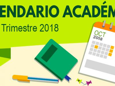 Calendario Académico Tercer Trimestre 2018