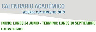 Calendario Académico Segundo Cuatrimestre 2019
