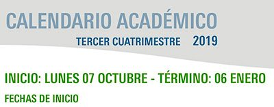 Calendario Académico Tercer Cuatrimestre 2019